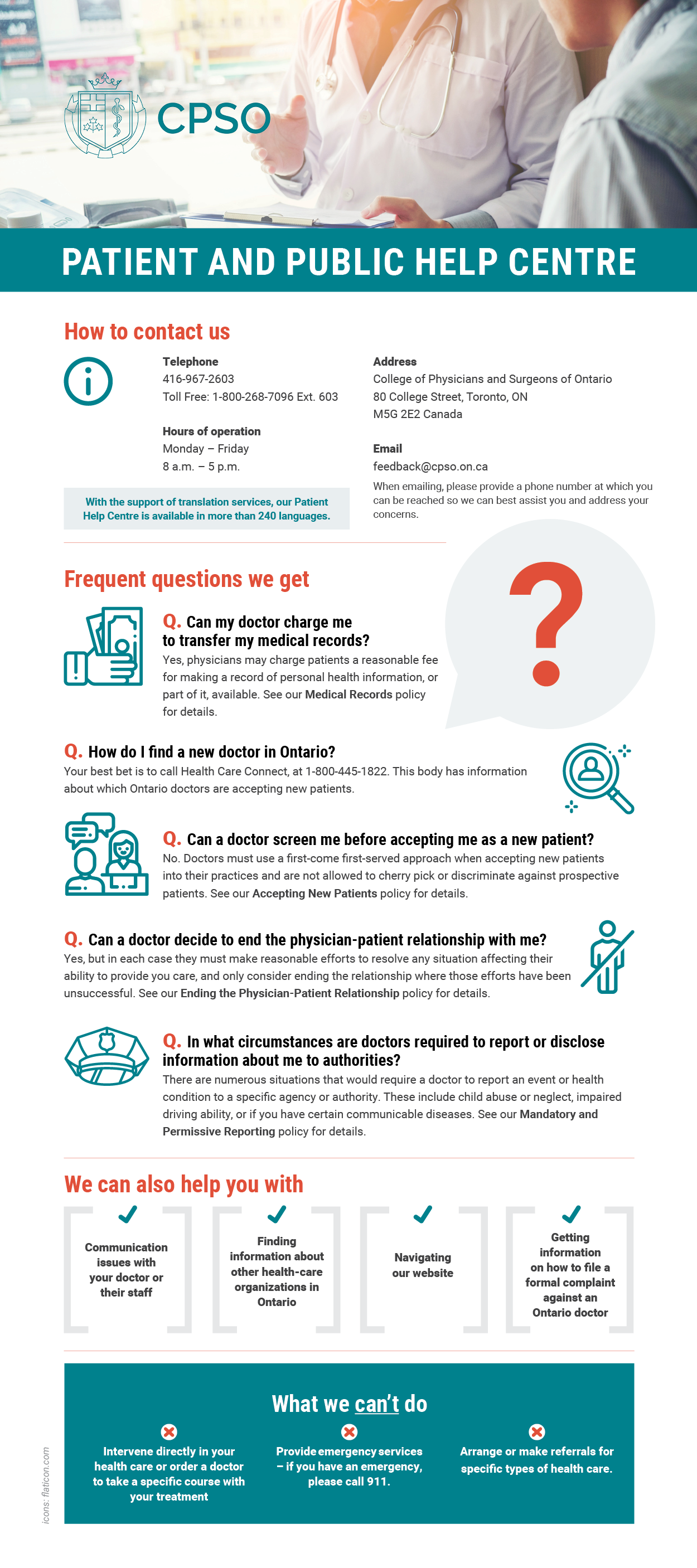 Infographic describing the Patient Help Centre and the questions they can and cannot answer